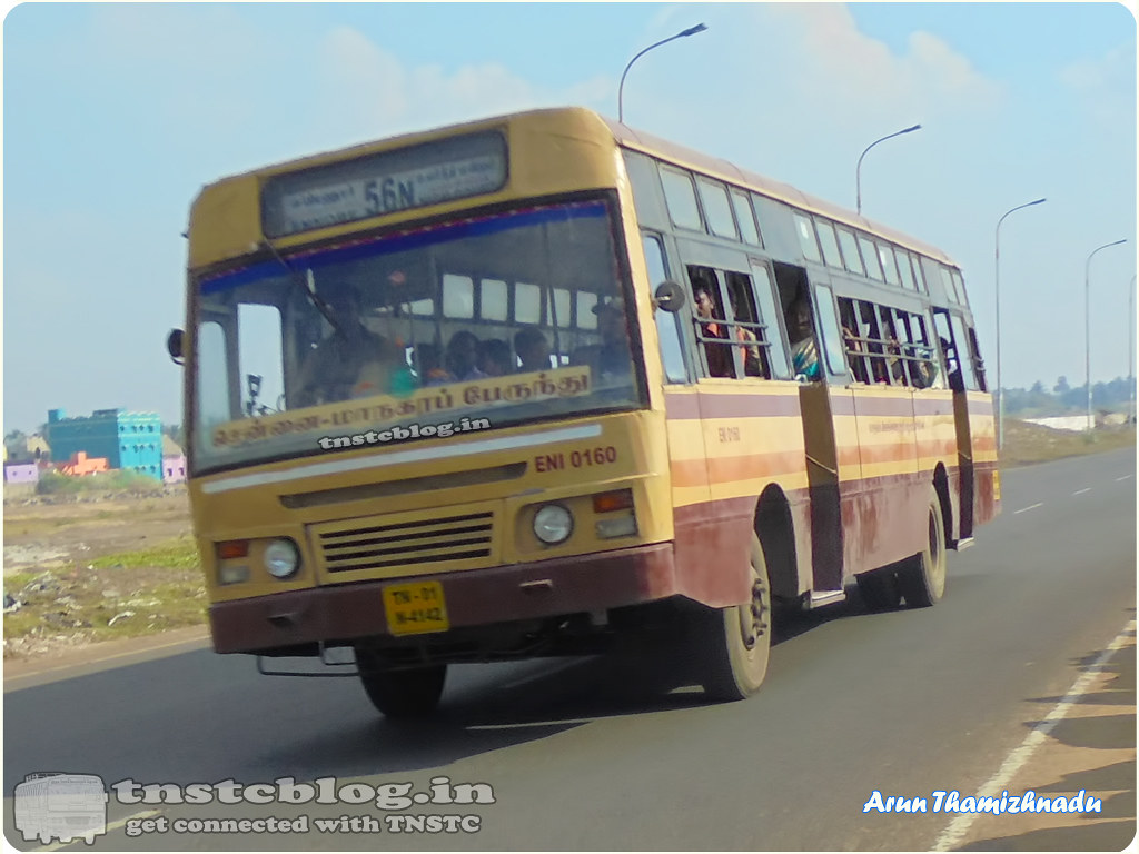 TN-01N-4142 ENI 0160 Ennore Depot 56N Ennore - HighCourt via Thazzhankuppam, Royapuram, Beach Station.