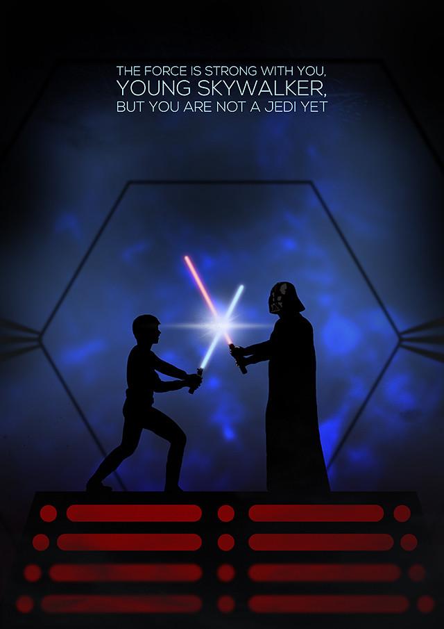 Luke and Vader silhouette poster design