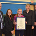 """State Reps. David Labriola and Rosa Rebimbas, essay winner Samantha Valentine, Superintendent Sharon Locke and Assistant Superintendent Christopher Montini posed for a photo after an awards presentation at Cross St. Intermediate School in Naugatuck. The essay theme was to describe an """"Important Woman in Connecticut History."""""""