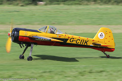 G-CIIK - 1990 build Yakovlev Yak-55, rolling for departure on Runway 26L at Barton