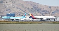 Heatwaves... Korean Air 747-8 Asiana 777 -200 DSC_0686