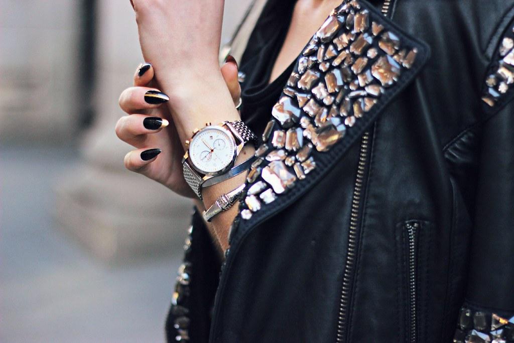 Superdry embellished black leather jacket 13
