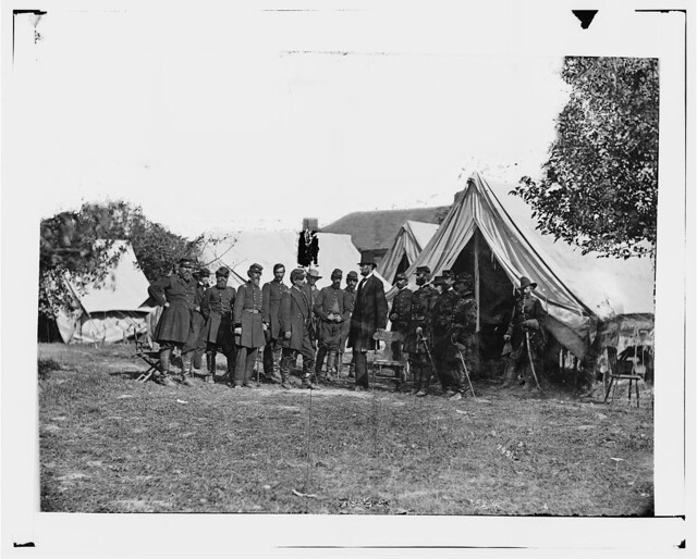 President Lincoln with General George B. McClellan and Group of Officers - Antietam, MD, October 3, 1862 - Newell F. Hill served at Antietam, MD
