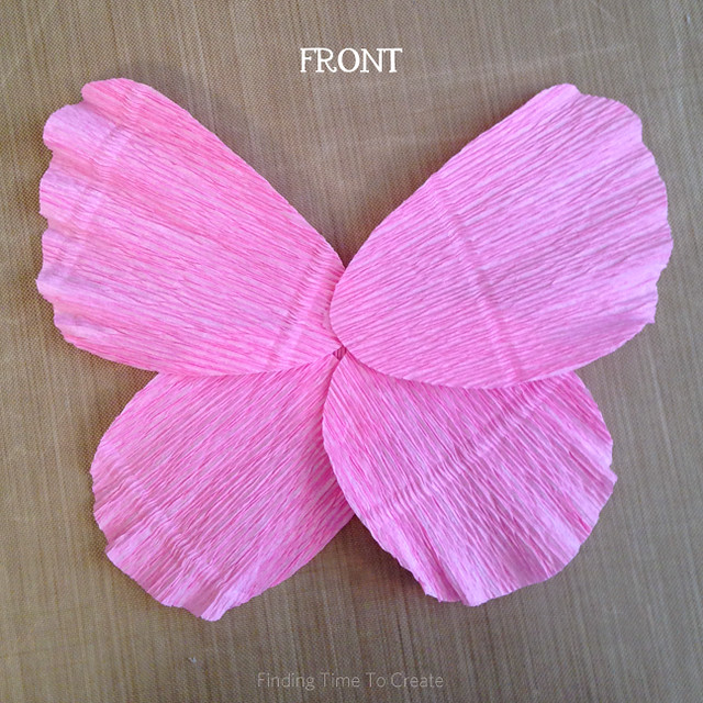 Hot glue butterfly crepe paper layers - front