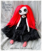 Custom button eyed Gothic doll with red hair by Strange Little Girls