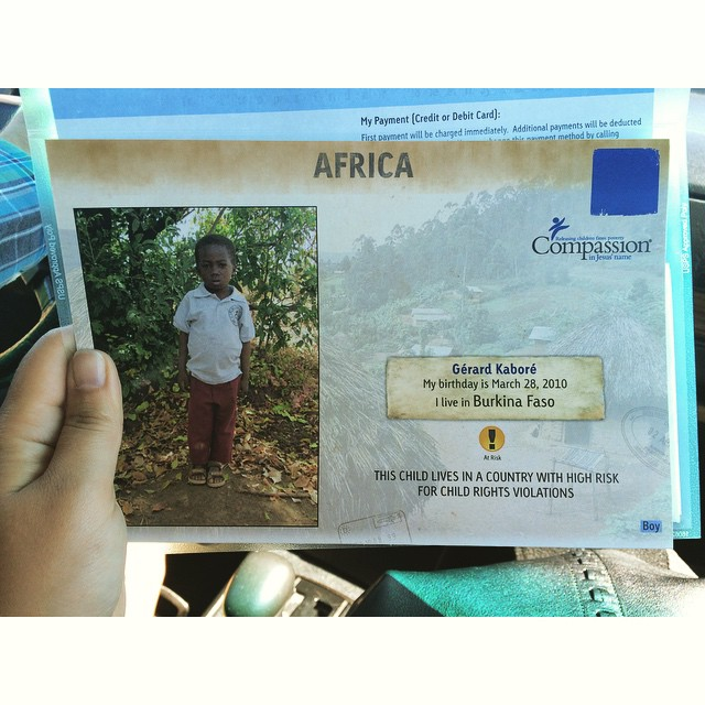@joshua300td and I decided to take the plunge today and sponsor a #CompassionInternational child. His name is Gérard, and he's five years old. #CompassionWeekend #gvcc @greenvalleycc @compassion
