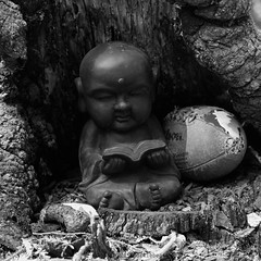 a buddha and his football