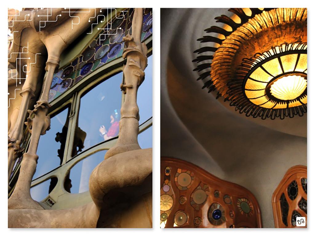 Barcelona, detalhe da fachada e detalhe do lustre da sala de jantar da casa Batlló