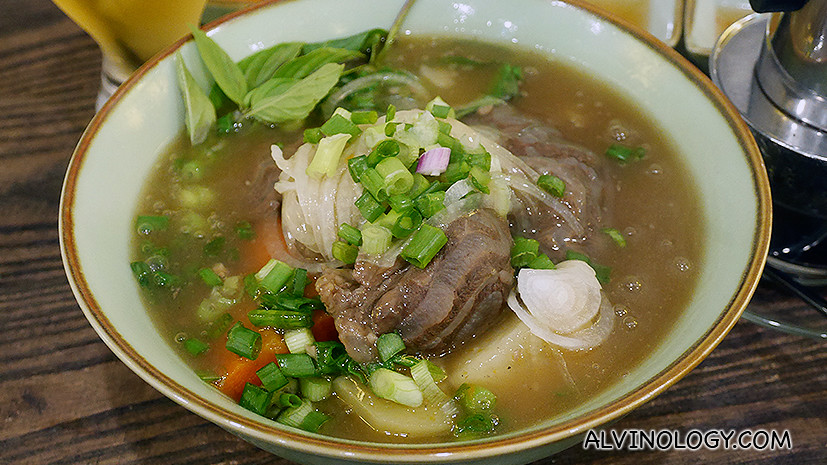 Braised beef golden coin noodle soup - S$9.90, this has a thicker broth than the other beef noodle soup