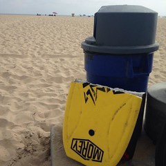 A broken boogie board is a good sign that the waves are turned on. :-)