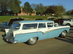 automobile, automotive exterior, vehicle, full-size car, ford ranch wagon, antique car, sedan, classic car, vintage car, land vehicle, luxury vehicle, motor vehicle,