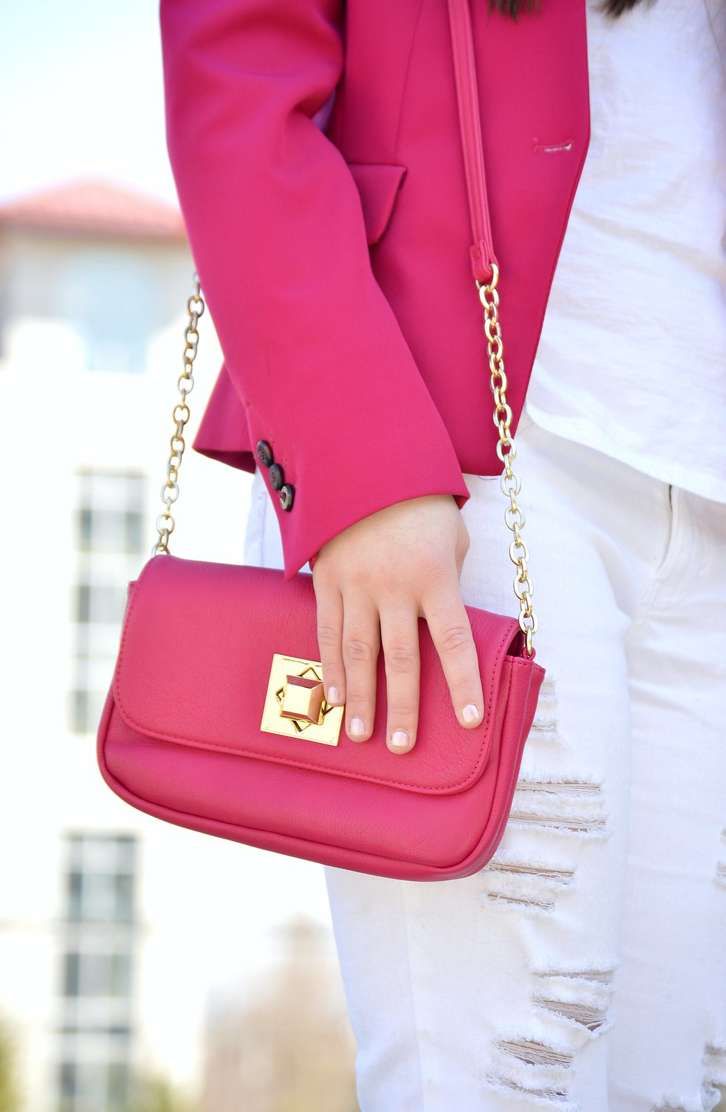 pink bag and blazer
