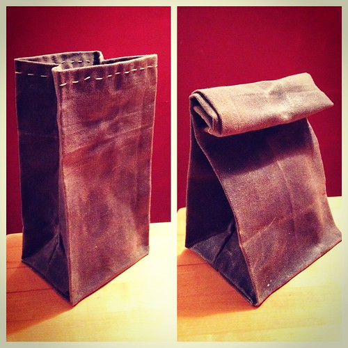 Hand-sewn waxed canvas lunch bag.