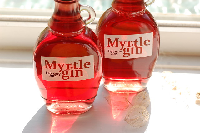 Two bottles of red myrtle gin