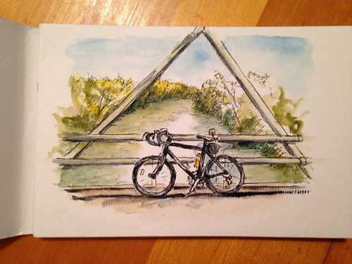 Combining a bike ride with some sketching on the Galloway Greenway iron bridge. A leisurely 11 mile ride for some drawing and painting.