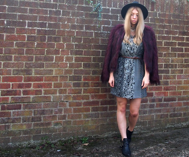 Print Mix, Clash, Monochrome, Paisley, '70s, Seventies Style, SS15, Mini Dress, Choker, Layered, Multi-Strand Necklace, Topshop, Black Fedora, Faux Fur Jacket, Fun Fur, Burgundy, Cut-Out Ankle Boots, How to Wear, Outfit Inspiration, Styling Ideas, UK Stylist, Fashion Blog, London, Personal Style Blogger, Sam Muses