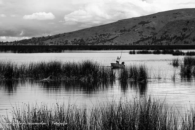 Fisherman in Lake Titicaca