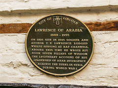 Photo of T. E. Lawrence green plaque