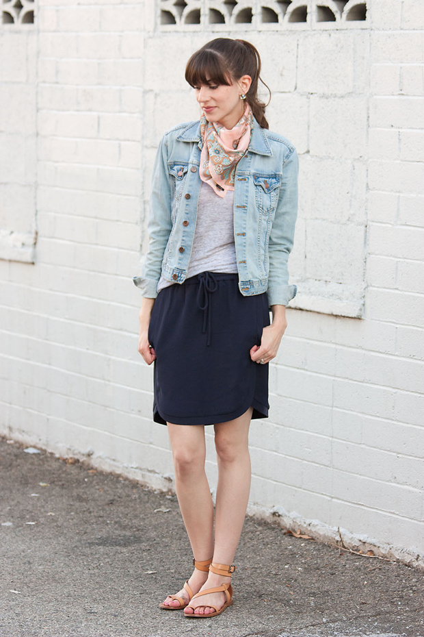 J.Crew Drapey Skirt, Denim Jacket
