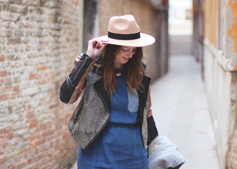 ASOS Denim Dress and Fedora, Bumpkin Betty