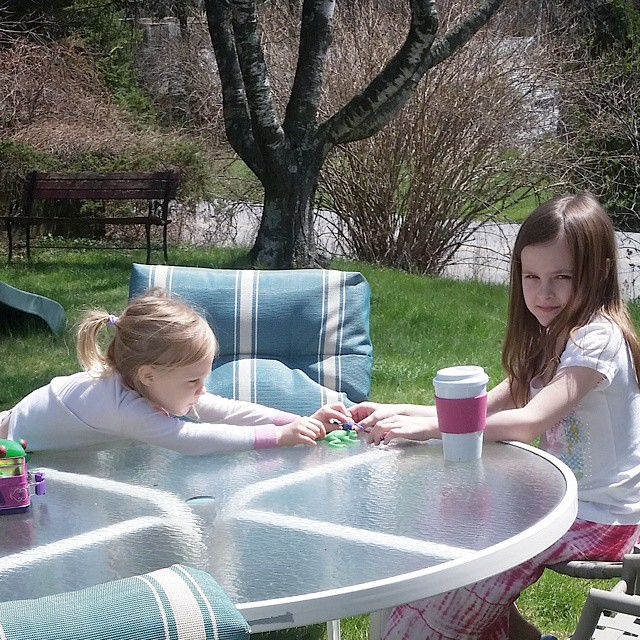 The girls grabbed their lunchboxes filled with mini animal figures, grabbed their cups of hot tea, and ran outside to escape their baby brother. I'm sure they will be out there all day! The look Lexie gave me was my cue to give them their privacy. #weeken