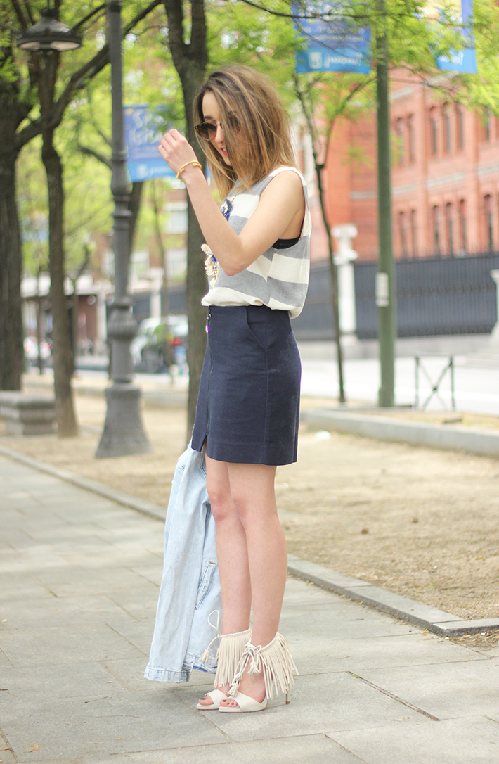 Blue Skirt Striped Top fringed sandals18