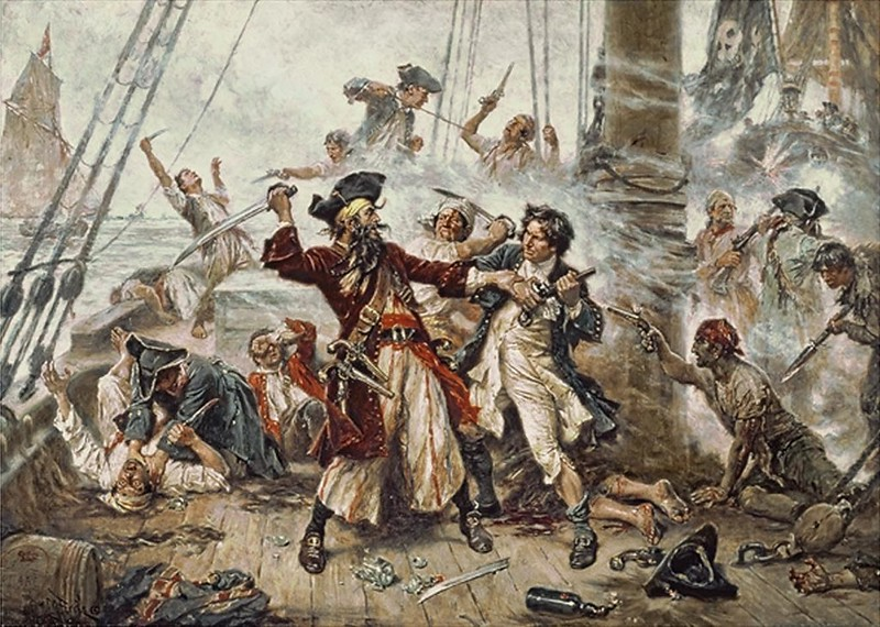 Capture of the Pirate, Blackbeard, 1718, Jean Leon Gerome Ferris