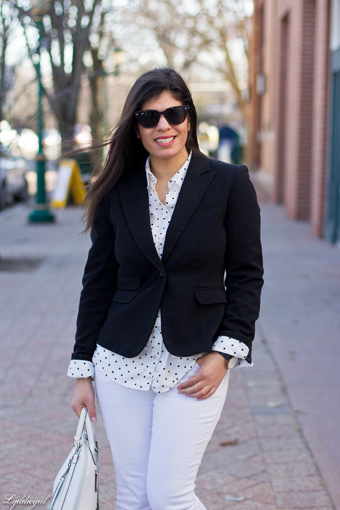 black blazer, polka dot shirt, white denim, trainers-3.jpg