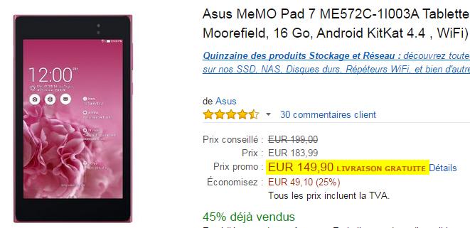 Bon Plan : La Asus MeMo Pad 7 ME572C Rose à 149 90€