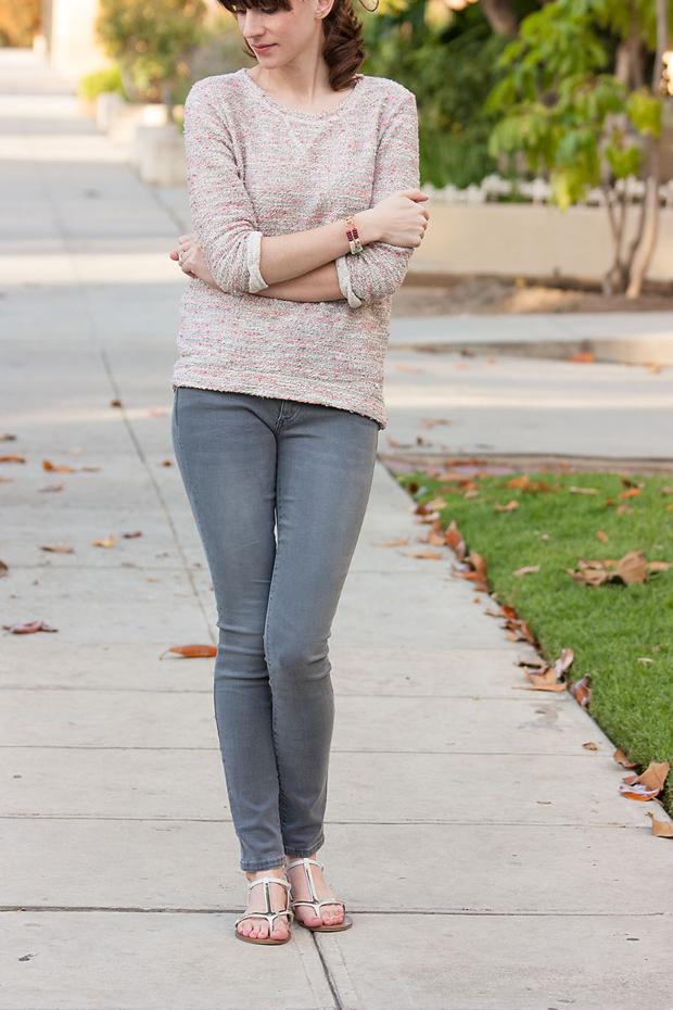 Pink Tweed Sweatshirt, Grey Denim