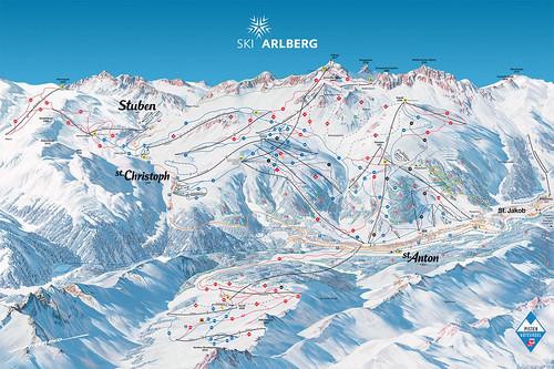 St. Anton am Arlberg St. Christoph Stuben - mapa sjezdovek