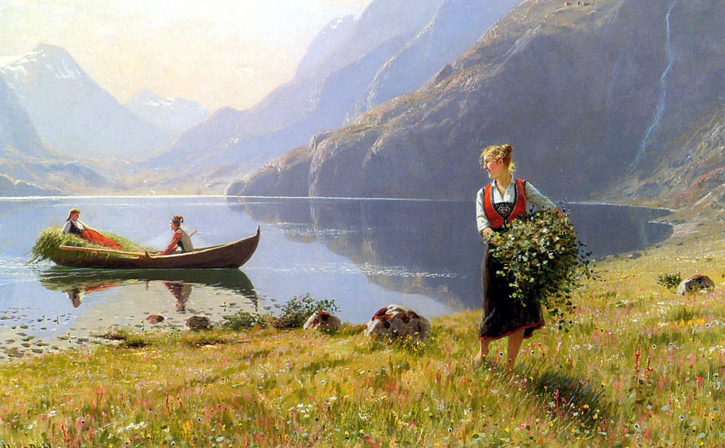 Harvesters by the Banks of a Fjord by Hans Dahl