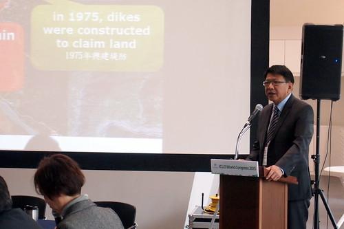 地方首長與會認識國際共同語言,圖為屏東縣長潘孟安參與韌性城市主題發表。