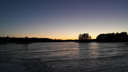 winter sunset lake finland frozen ruokolahti 201546