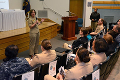 Rear Adm. Lisa Franchetti, commander of U.S. Naval Forces Korea, speaks about her naval career experiences and leadership philosophy. (U.S. Navy/MCC Wendy Wyman)