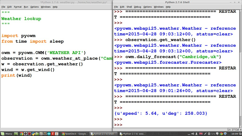 Hacking a weather project with Python