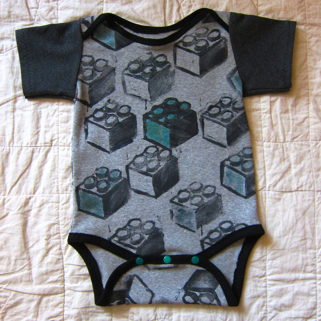 Block-printed Lego Blocks Onesie/Bodyshirt