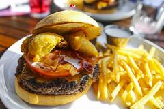 Burger w/ Fried Squash, Cilantro Ranch, Bacon, Che…