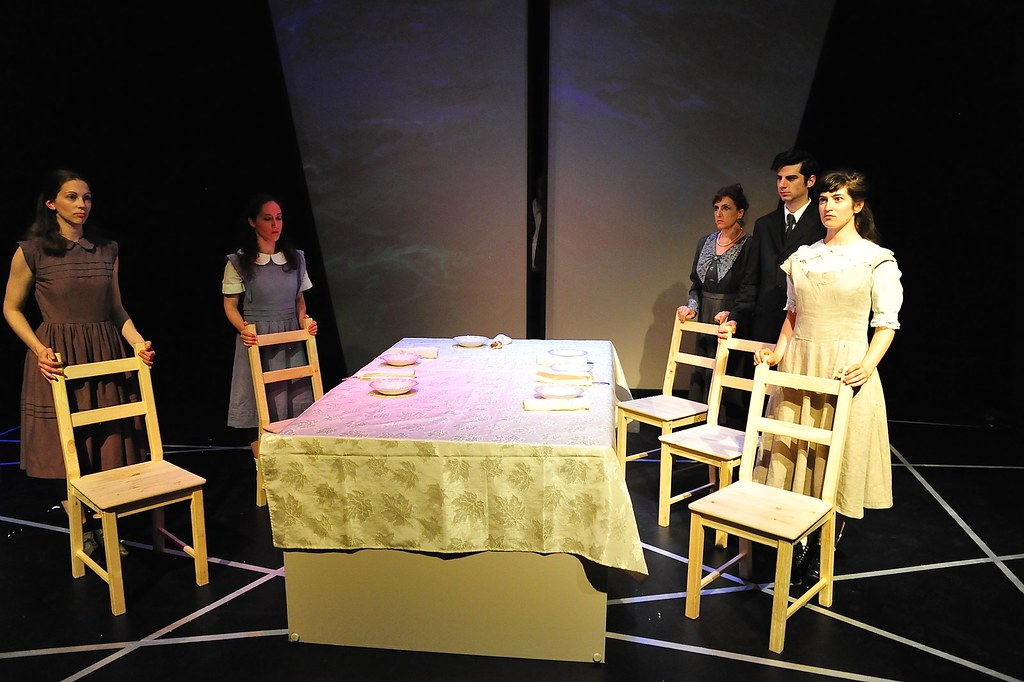 <p>From left: Abigail Ropp as Ellie, Emily Gilson as Vallie, Melissa Robinson as Mother, Matthew Payne as Franz and Madeline Burrow as Ottla<br /> <br /> Photo by Valentine Radev</p>