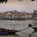 View of  traditional Portuguese Rabelo boats on Douro River by B℮n