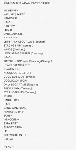 Big Bang - 0.TO.10 in Japan - 29jul2016 - Setlist - 01