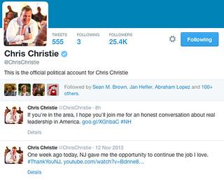 @ChrisChristie screenshot of Twitter account