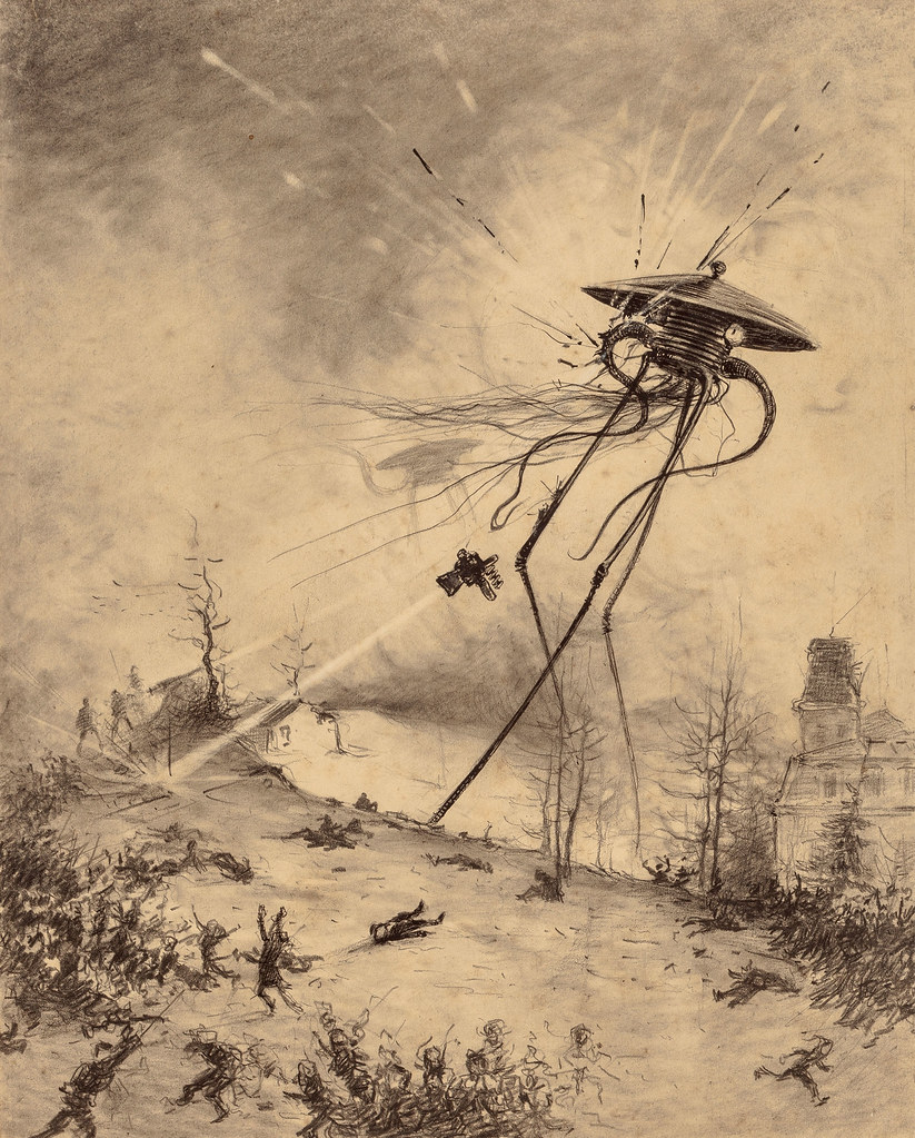 "HENRIQUE ALVIM CORRÊA - Martian Fighting Machine Hit by Shell, from The War of the Worlds, Belgium edition, 1906 (illustration from Book I- The Coming of the Martians, Chapter XII- ""What I Saw of the Destruction of Weybridge and Shepperton,"")"