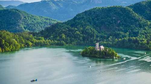 above lake castle up view sunny competition slovenia ljubljana bled