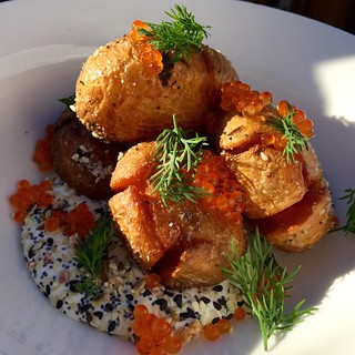 Crispy Potatoes, Everything Bagel Spice, Smoked Trout Roe, Dill, Cream Cheese Mouse from The Dock at Linden St.
