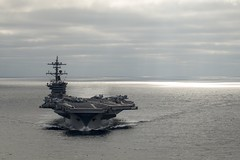 USS Carl Vinson (CVN 70) transits the Pacific Ocean July 17 while underway with embarked Carrier Air Wing 2 and Destroyer Squadron 1 conducting the Tailored Ship's Training Availability (TSTA) and Final Evaluation Problem (FEP). (U.S. Navy/MC2 D'Andre L. Roden )