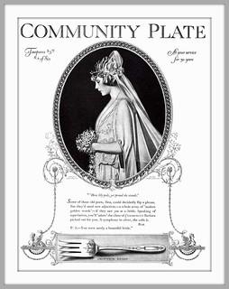 1922 June Community Plate - How lily pale, yet proud she stands. -  painted by Coles Phillips - Oneida Community
