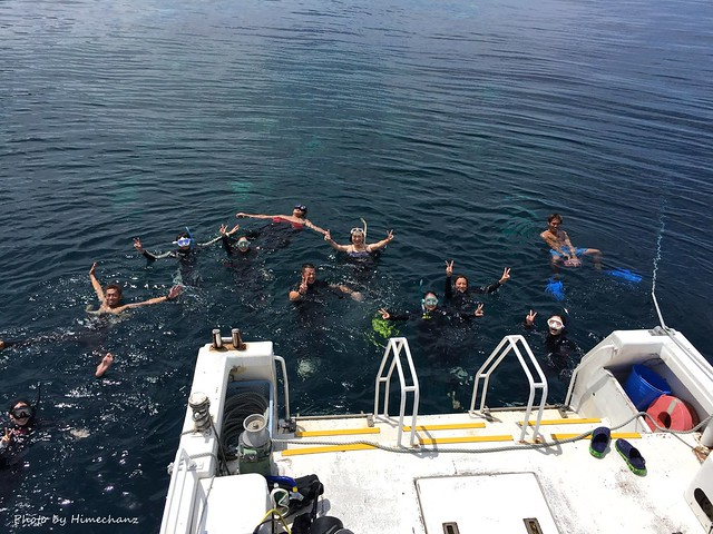 水面休息はみんなでスパ感覚で海へw