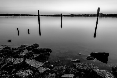 Civil Dawn on the Potomac River Black and White by Geoff Livingston