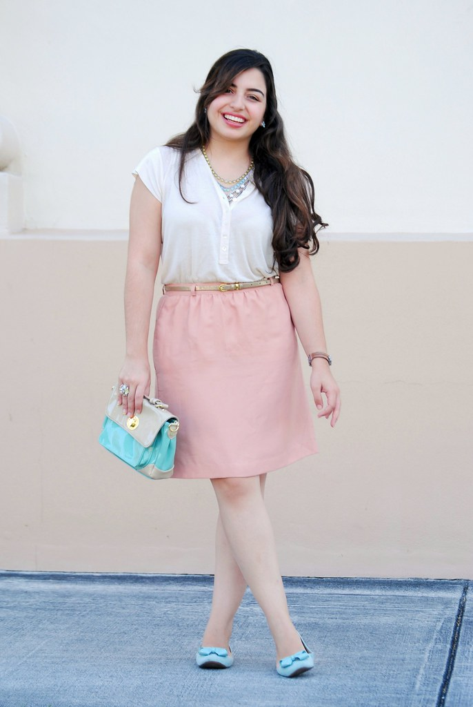 pastel modest style spring outfit